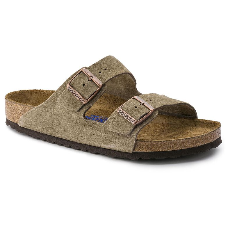Arizona Suede Leather Soft Footbed Taupe