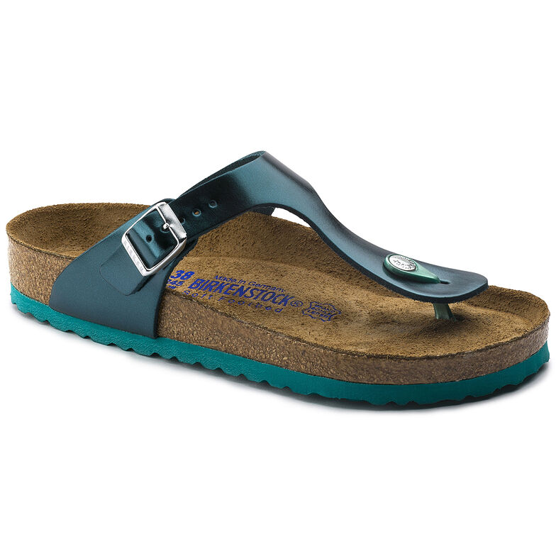 Gizeh Natural Leather Soft Footbed Metallic Green