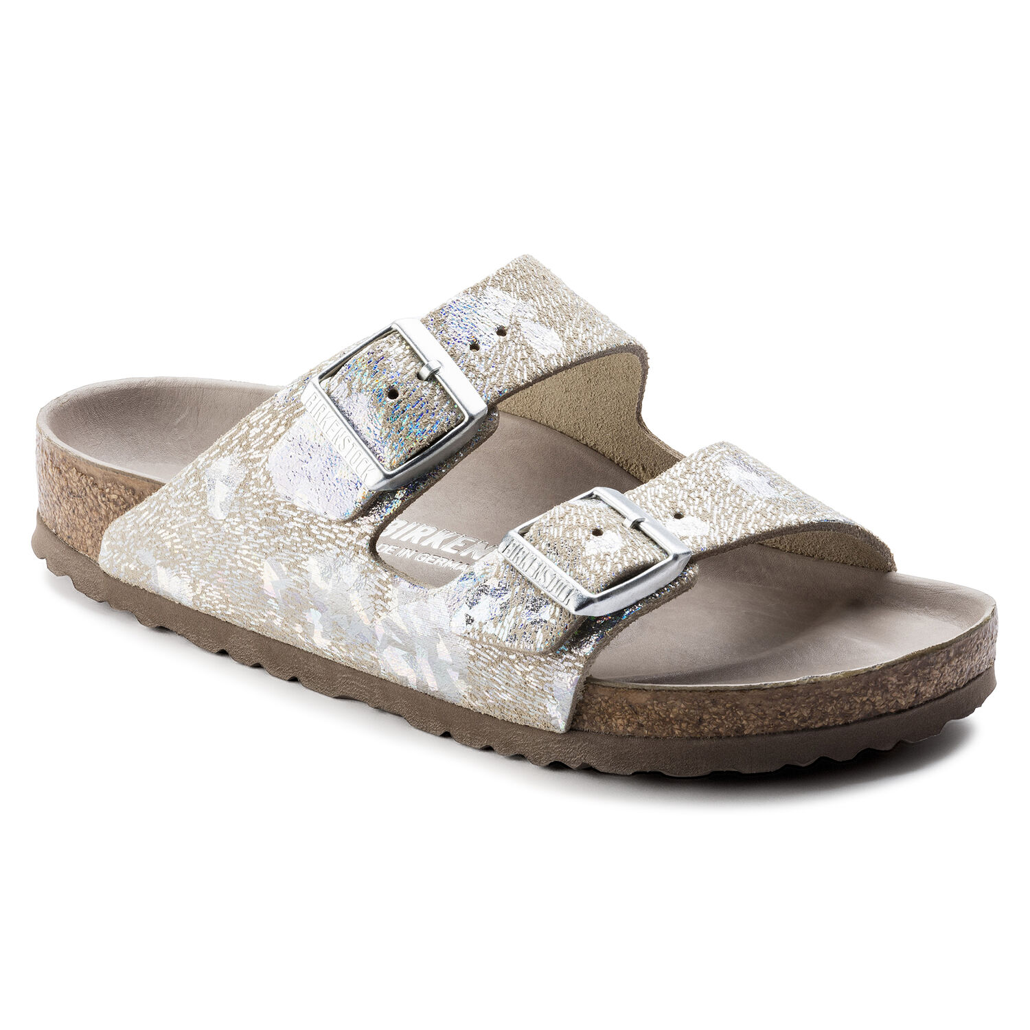 arizona natural leather spotted metallic silver birkenstock. Black Bedroom Furniture Sets. Home Design Ideas