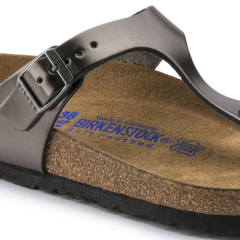 Gizeh Natural Leather Soft Footbed Metallic Anthracite