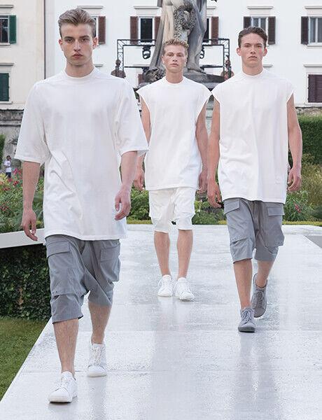 Spring Summer 19 Launch Event runway model in Birkenstock sneakers