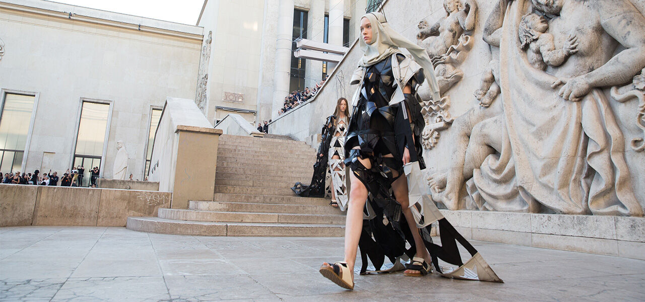 Rick Owens launch show model wearing Rotterdam