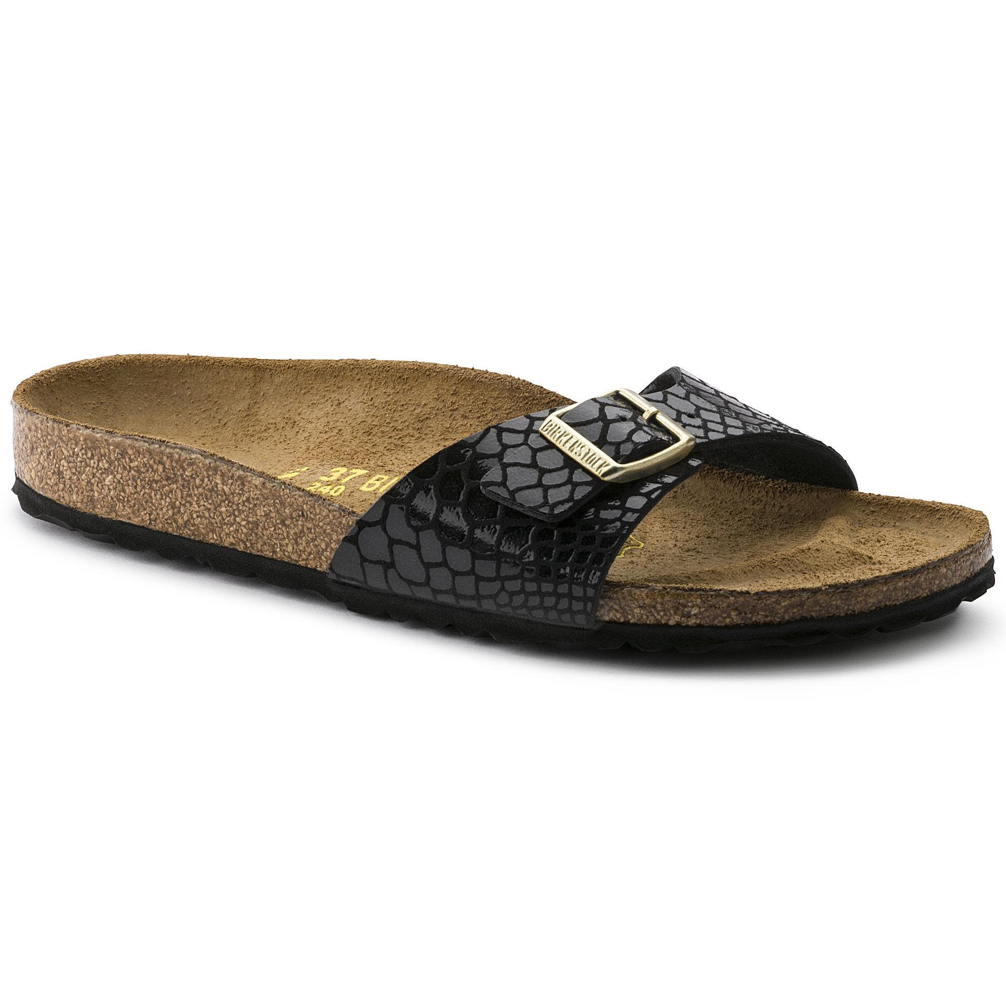 Birkenstock Women'S Arizona BF Shiny Snake Narrow Fit Sandal Black Multi-Black-7.5 Size 7.5 rlaYoFKc