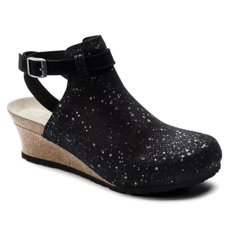 Esra Suede Embossed Silver Splashes Black
