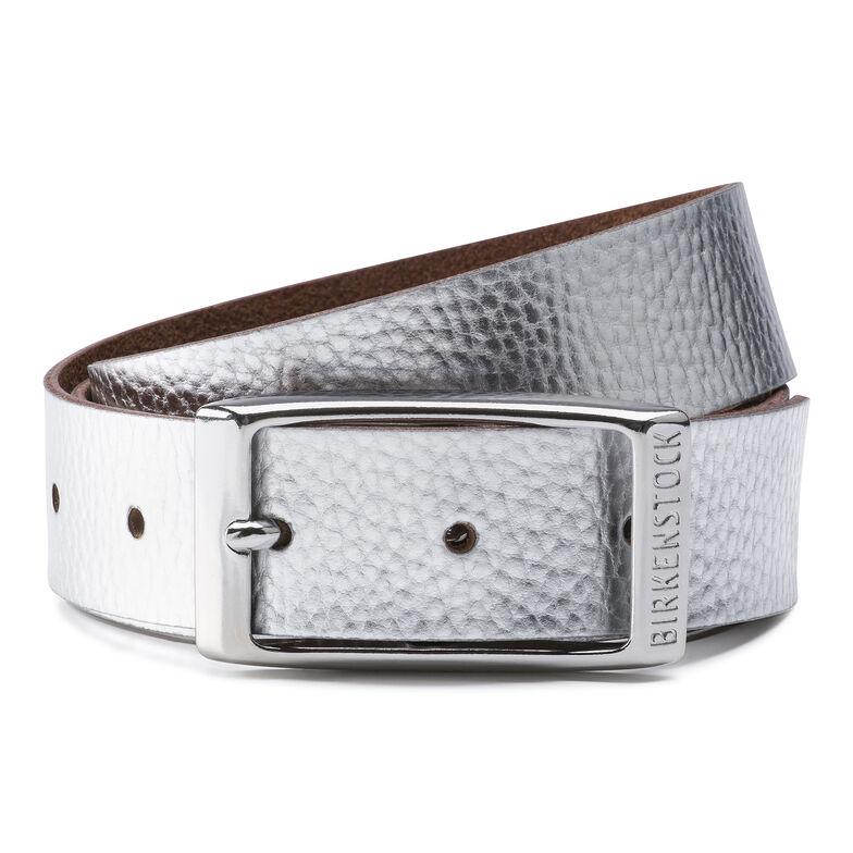 Illinois Belt Leather Metallic Silver