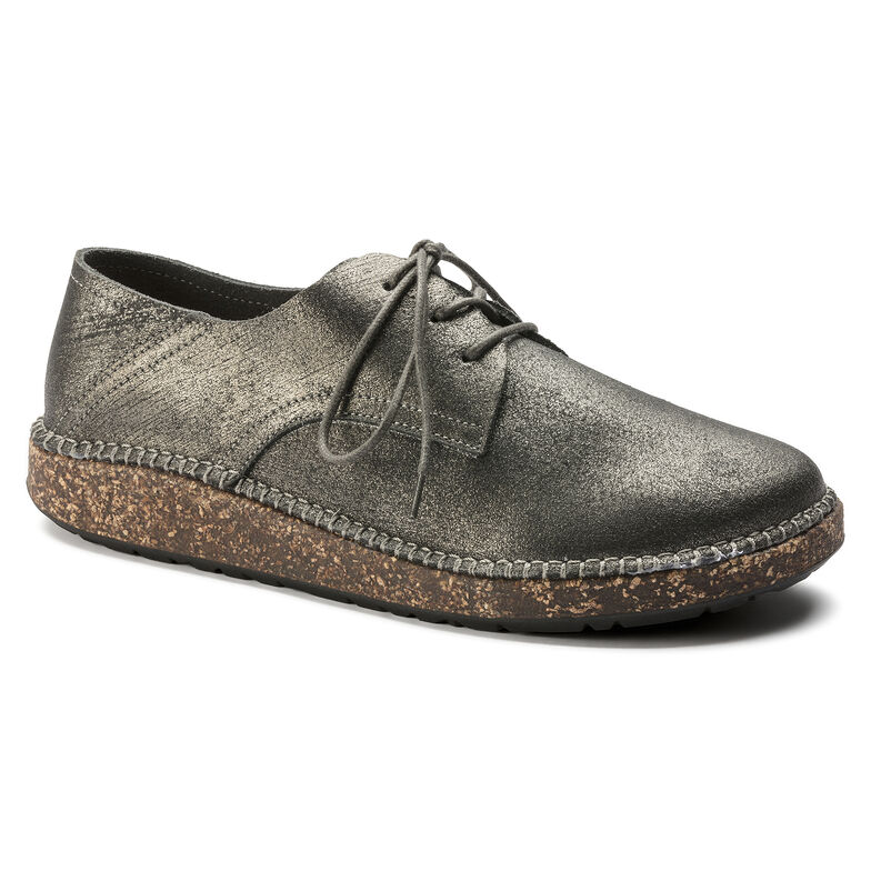 Gary Suede Leather Metallic Silver