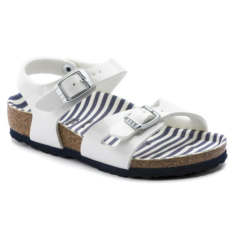 Rio Birko-Flor Patent Nautical Stripes White
