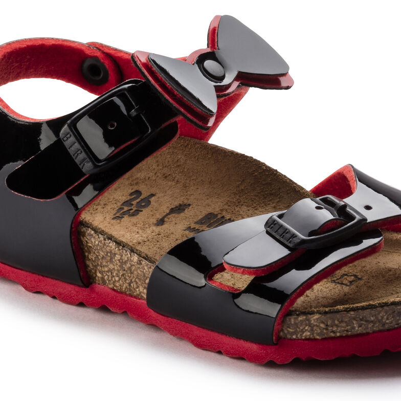 Rio Birko-Flor Patent Two Tone Black Red Ribbon
