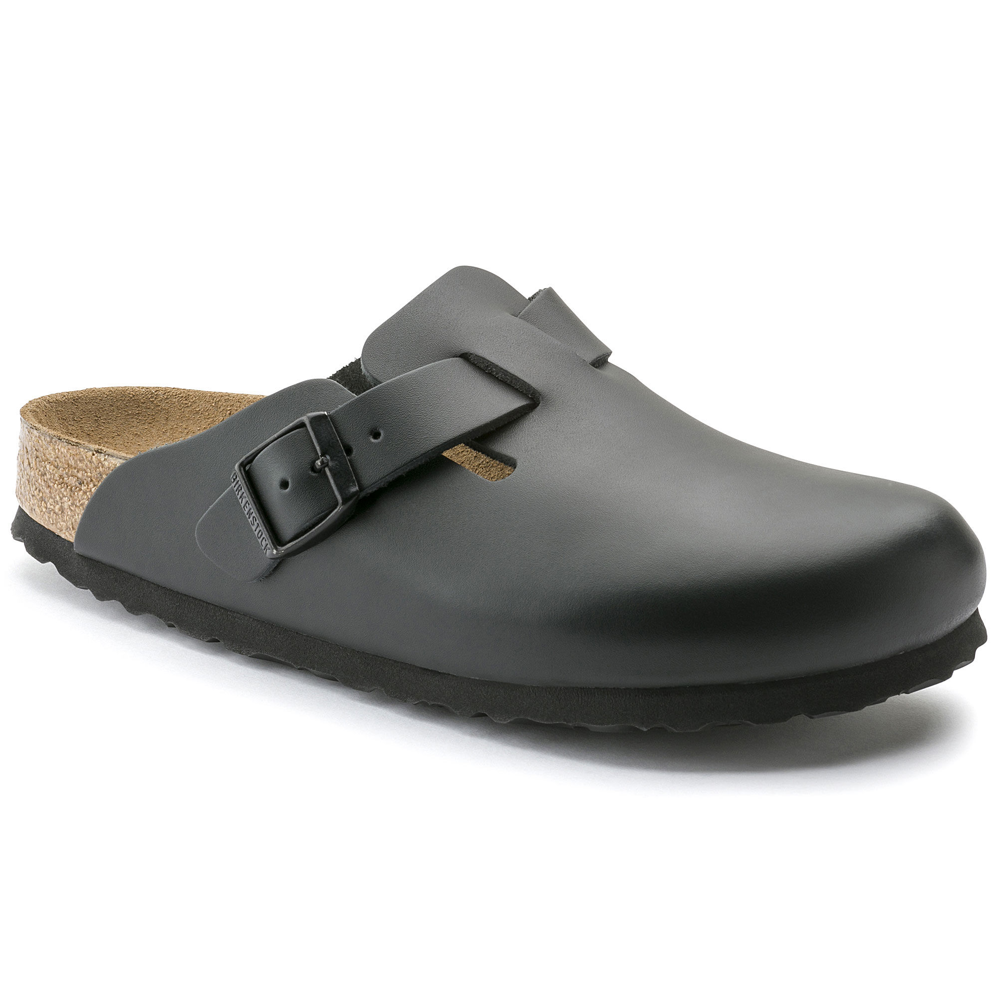 Boston Natural Leather Soft Footbed Black