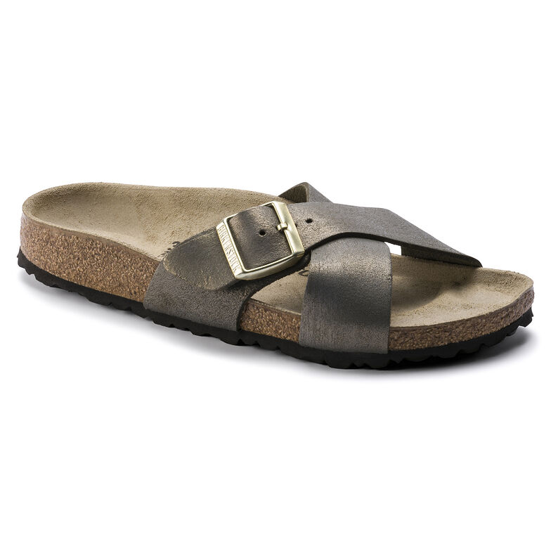 Siena Suede Leather Washed Metallic Stone Gold
