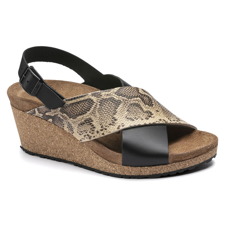 Samira Embossed Leather Black/Snake Beige
