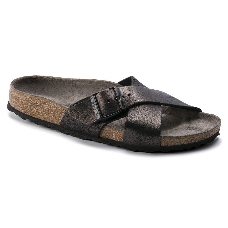 Siena Suede Leather Washed Metallic Antique Black