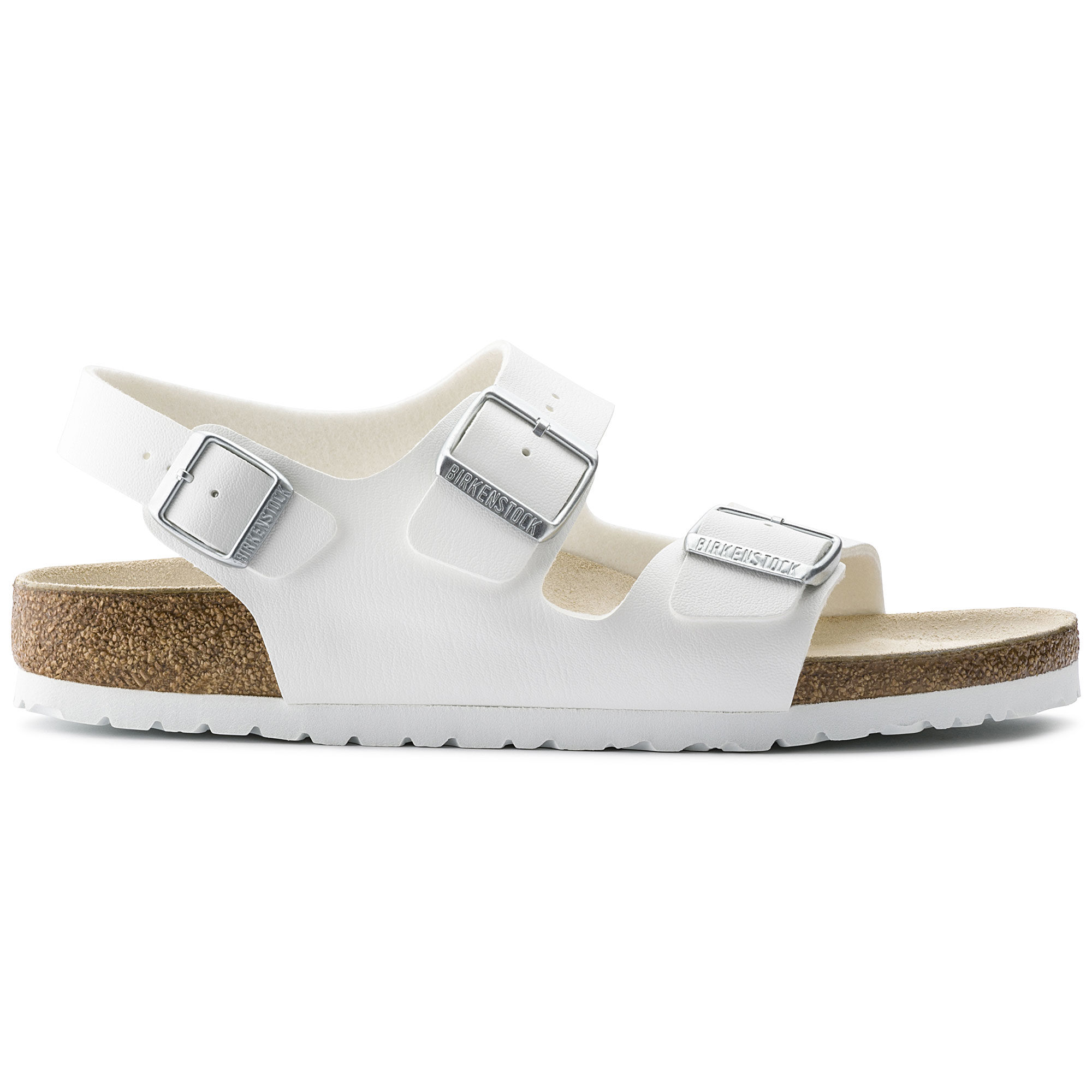 Buy Women Shoes / Birken1 Stock2 Milano Birko Flor White Slider Flat Sandals