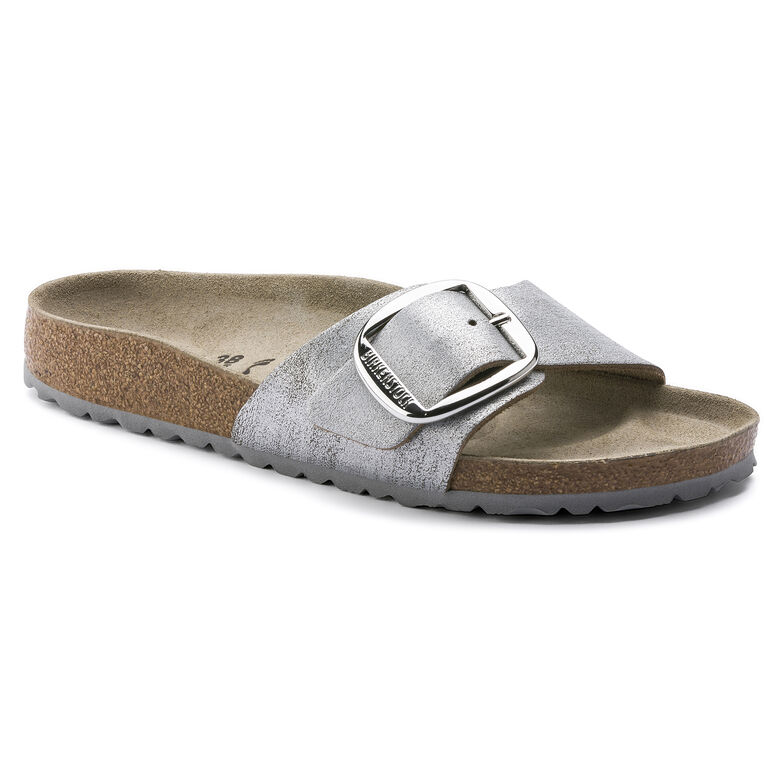 Madrid Suede Leather Washed Metallic Blue Silver