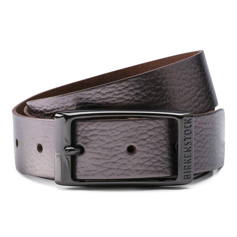 Illinois Belt Leather Metallic Anthracite