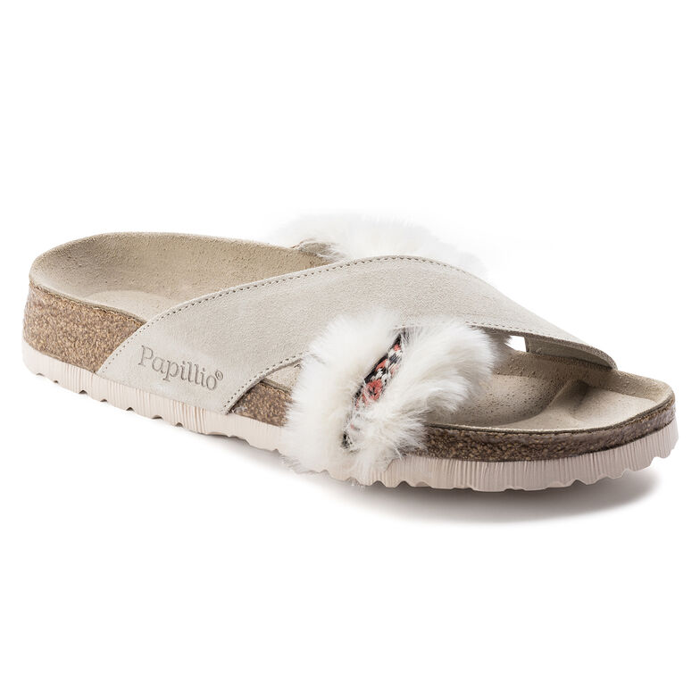 Daytona Suede Leather/Fur Cozy Offwhite
