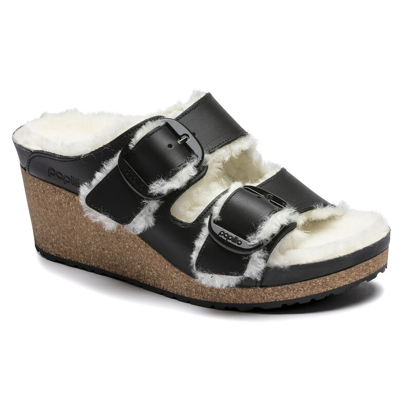 Nora Big Buckle  Natural Leather Black/Shearling Eggshell