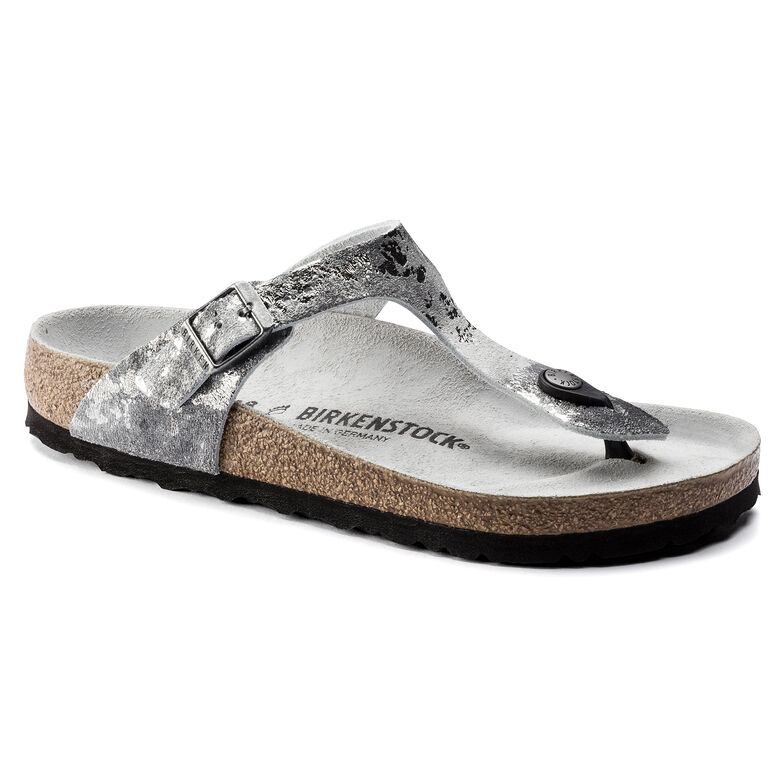Gizeh  Suede Leather Vintage Metallic Gray Silver