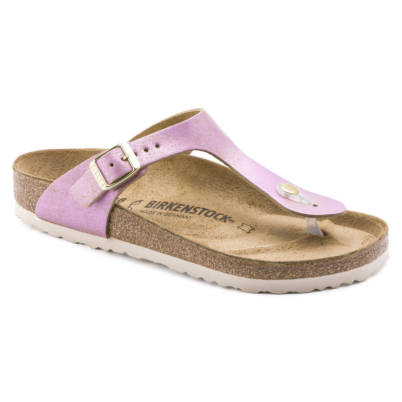 Gizeh Suede Leather Washed Metallic Pink