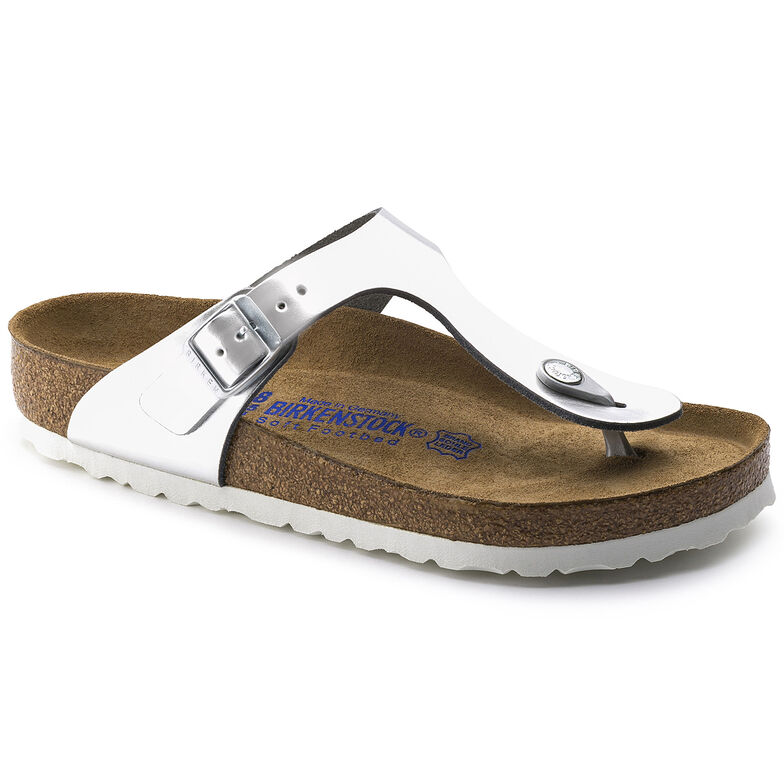 Gizeh Natural Leather Soft Footbed Metallic Silver