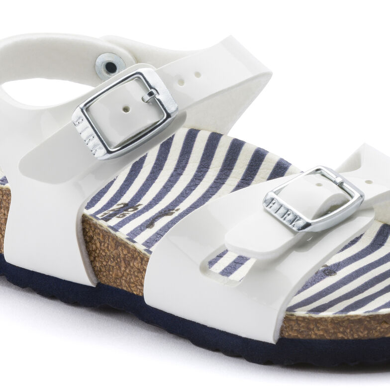 Rio Birko-Flor Patent Nautical Stripes White