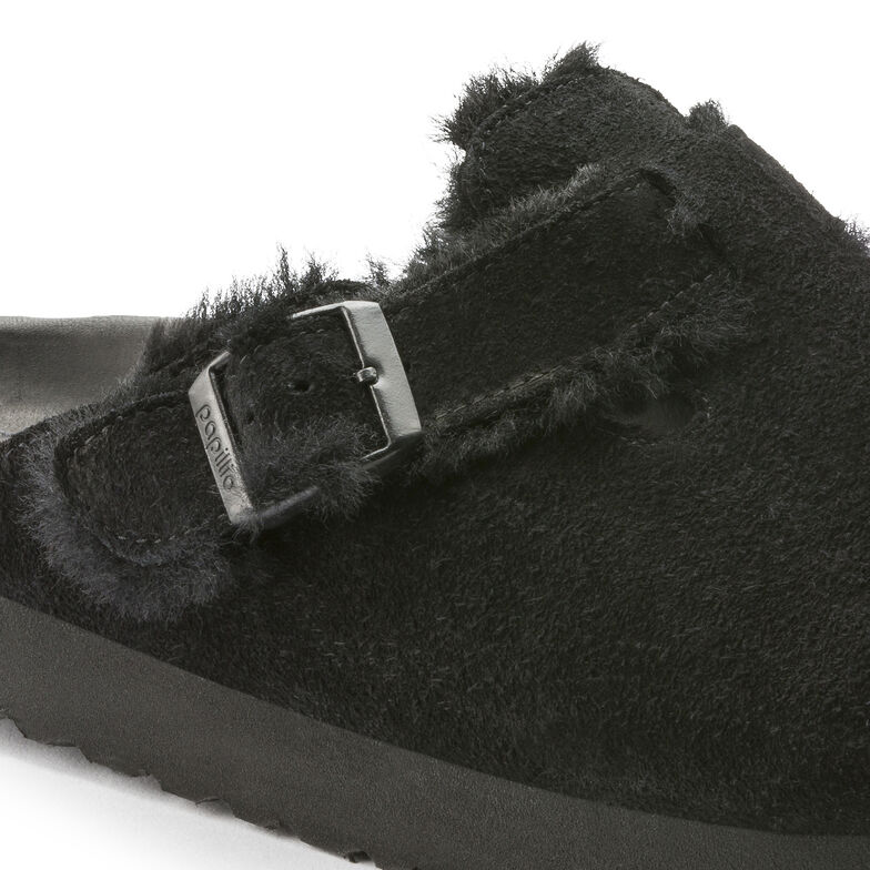 Boston Suede Leather/Fur Shearling Black
