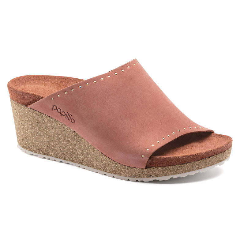 Namica Nubuck Leather Earth Red Rivets