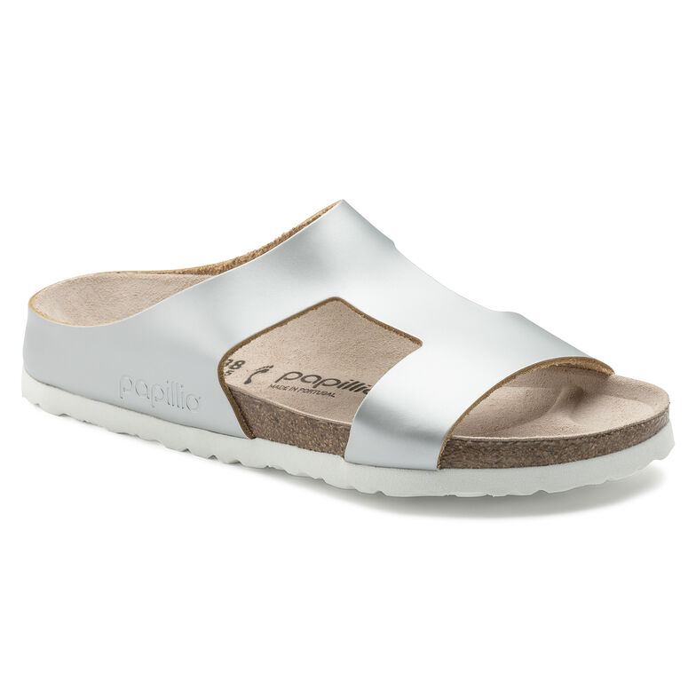 Charlize Natural Leather Frosted Metallic Silver