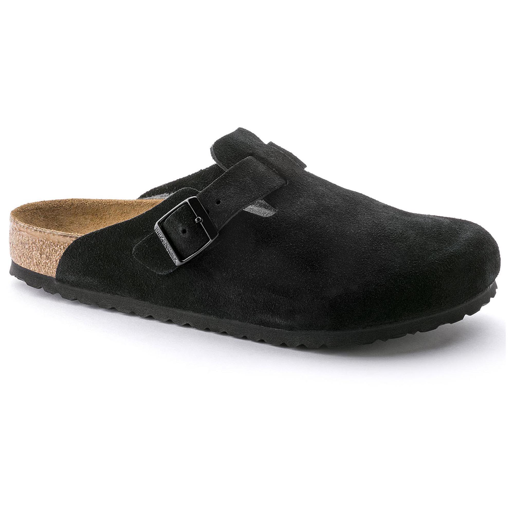 Boston Suede Leather. Boston Suede Leather Soft Footbed Black