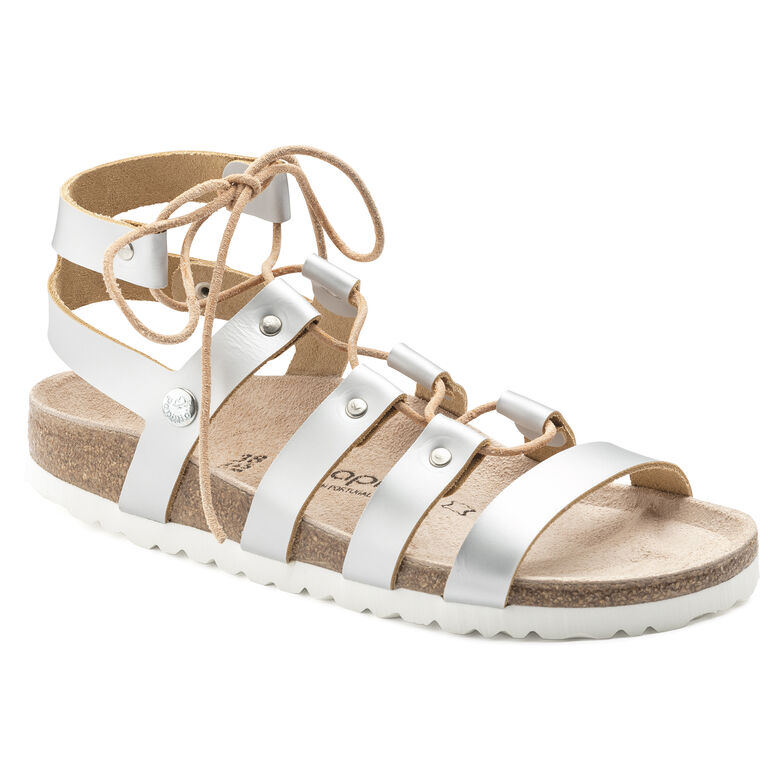 Cleo Natural Leather Frosted Metallic Silver