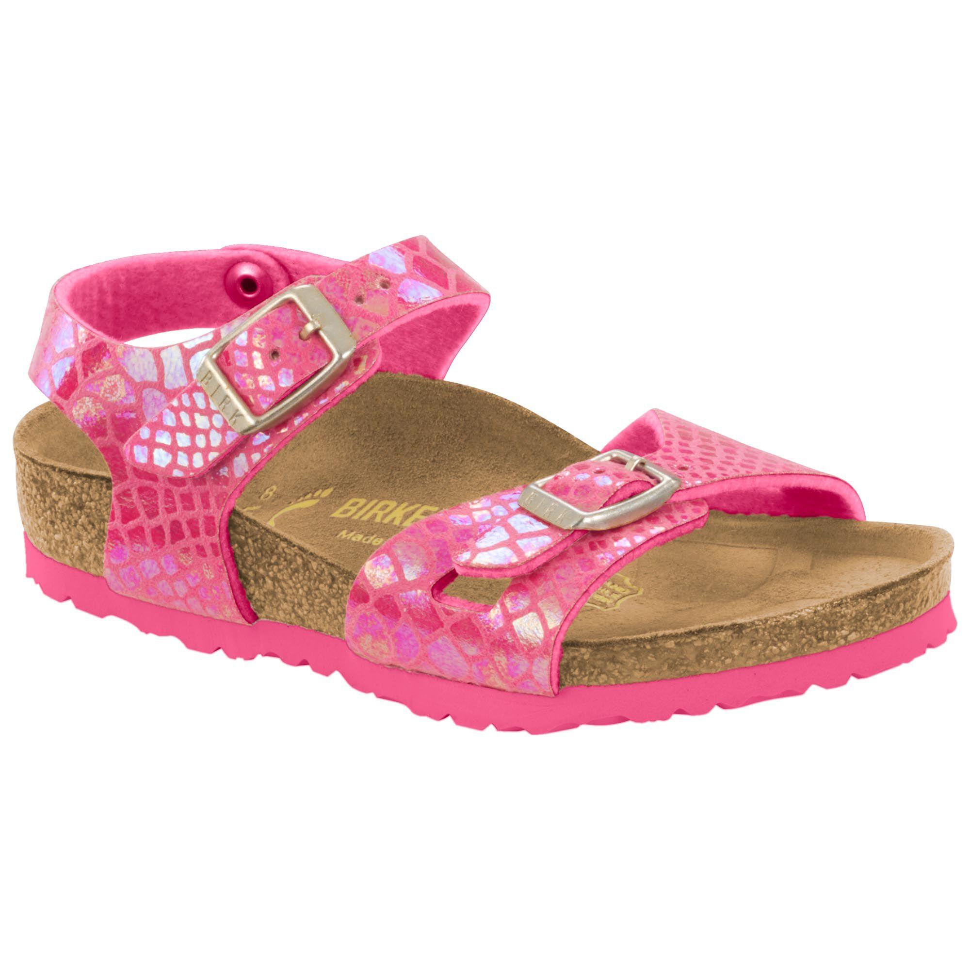 Birkenstock Rio Kids Shiny Snake Pink