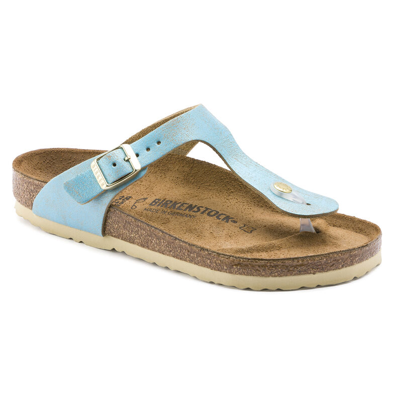 Gizeh Suede Leather Washed Metallic Aqua