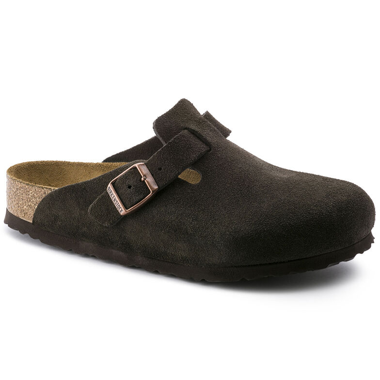 Boston Suede Leather Soft Footbed Mocha