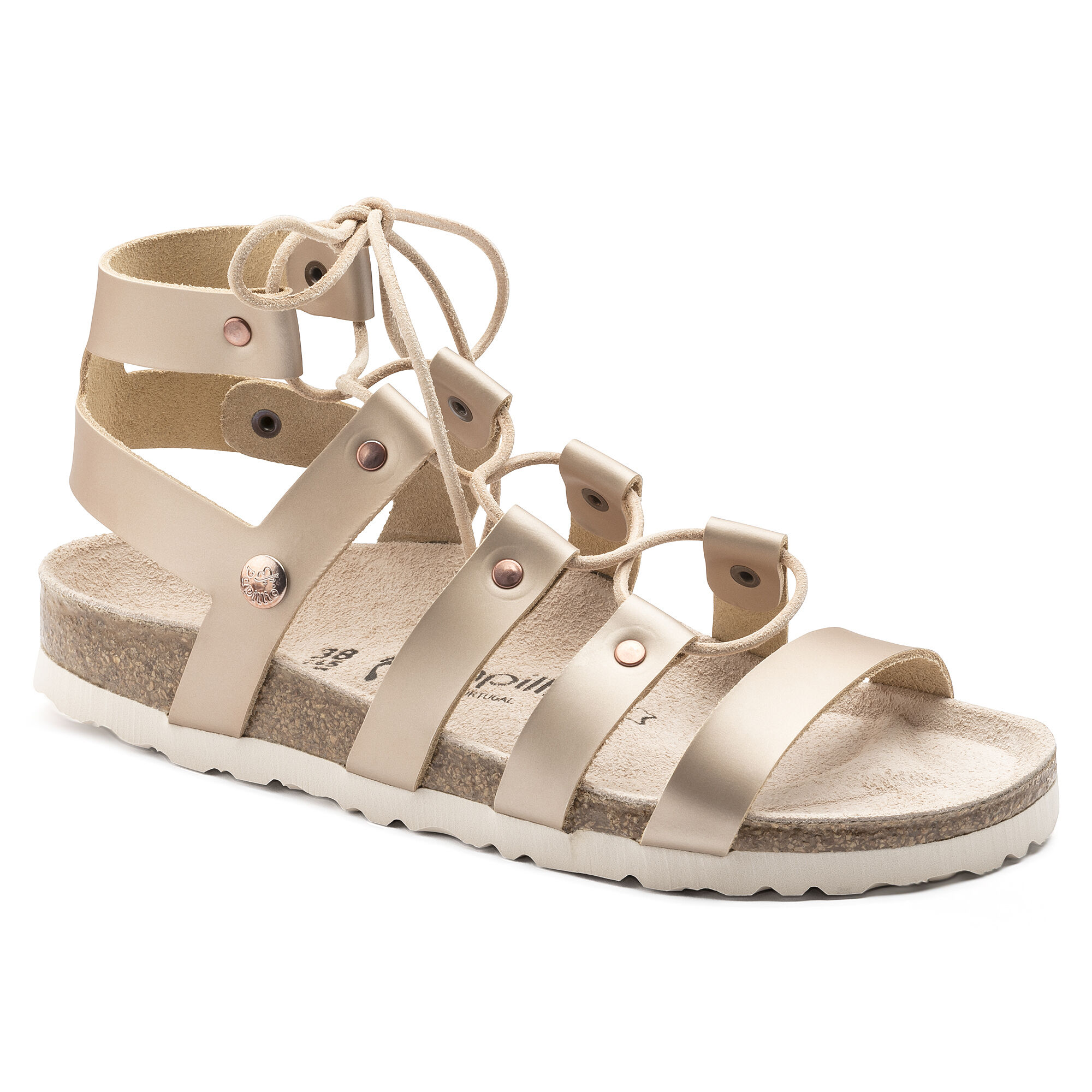 Cleo Natural Leather Frosted Metallic Rose