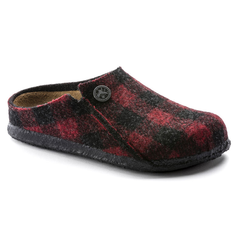 Wool Felt Plaid Red