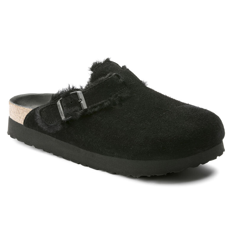 Boston Suede Leather/Fur Shearling Black