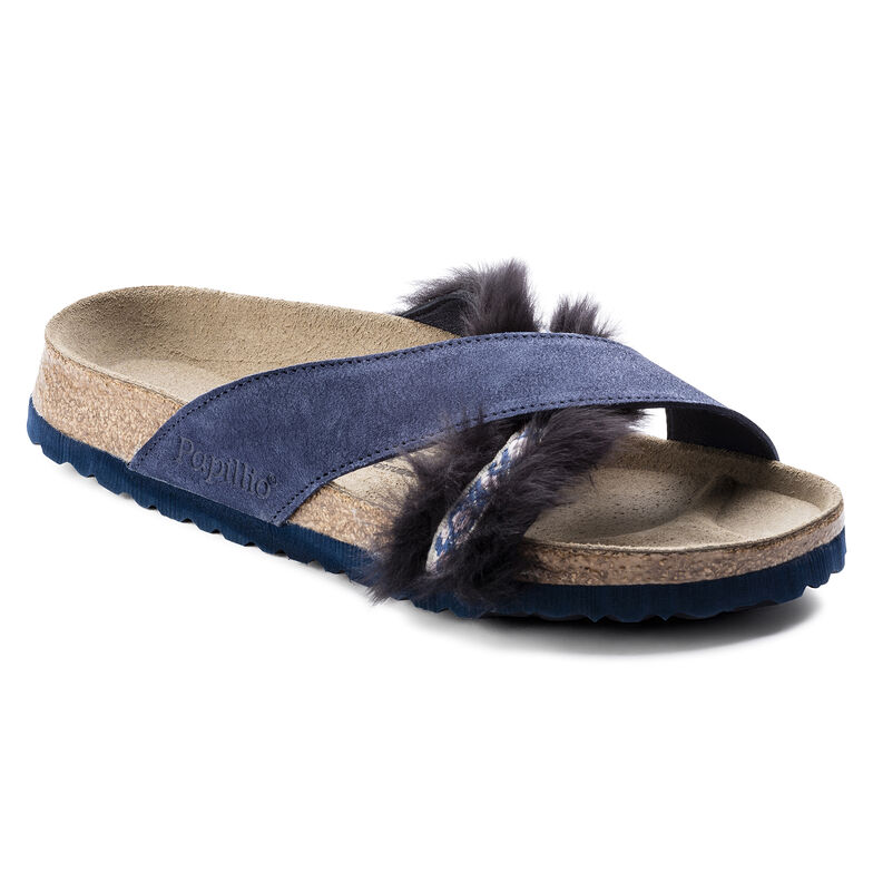 Daytona Suede Leather/Fur Cozy Night Blue