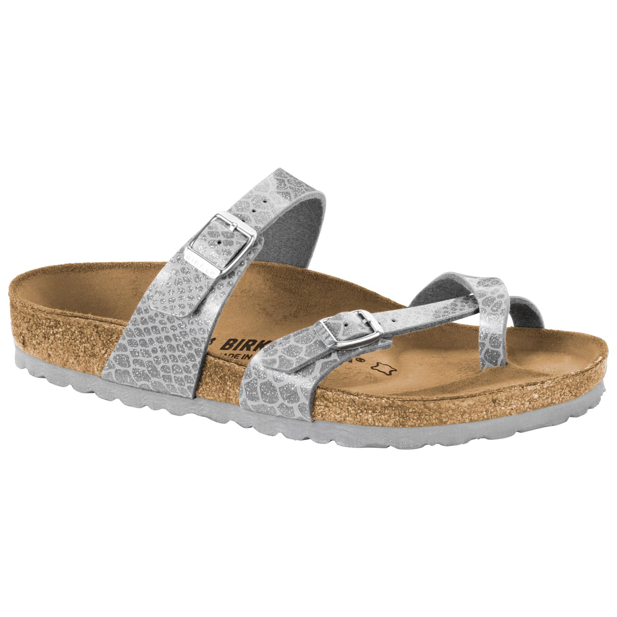 Birkenstock Womens Mayari Magic Snake Regular Fit BirkoFlor Sandal Silver
