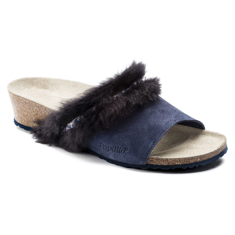 Amber Suede Leather/Fur Cozy Night Blue