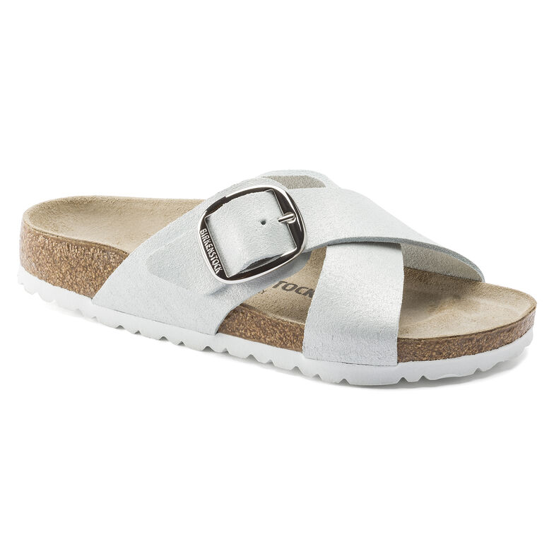 Siena Suede Leather Washed Metallic White