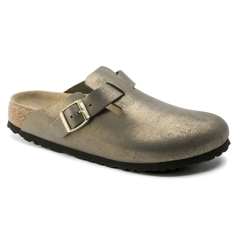 Boston Suede Leather Washed Metallic Stone Gold