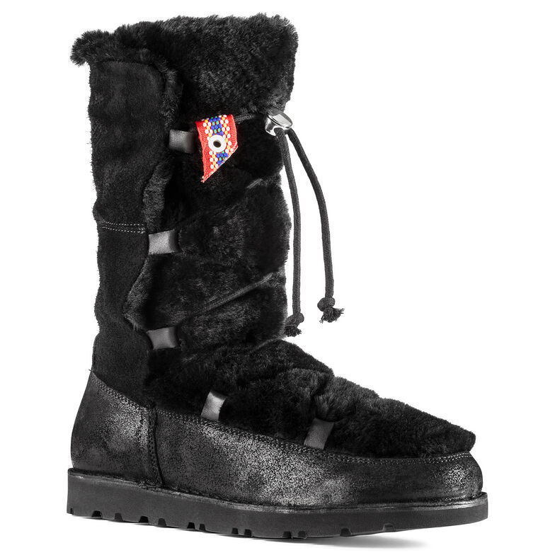 Nuuk Suede Leather/Fur Black