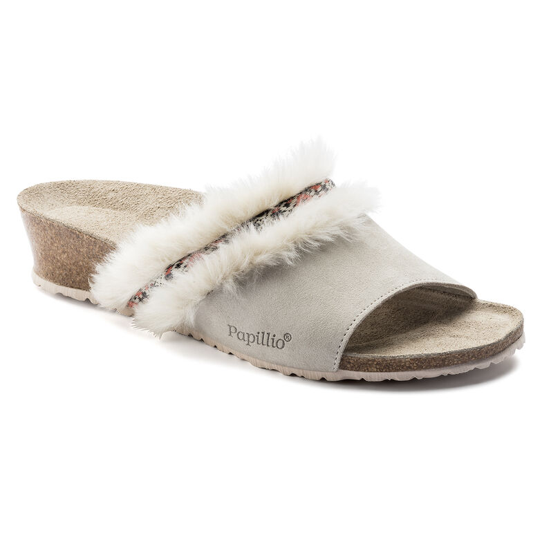 Amber Suede Leather/Fur Cozy Offwhite