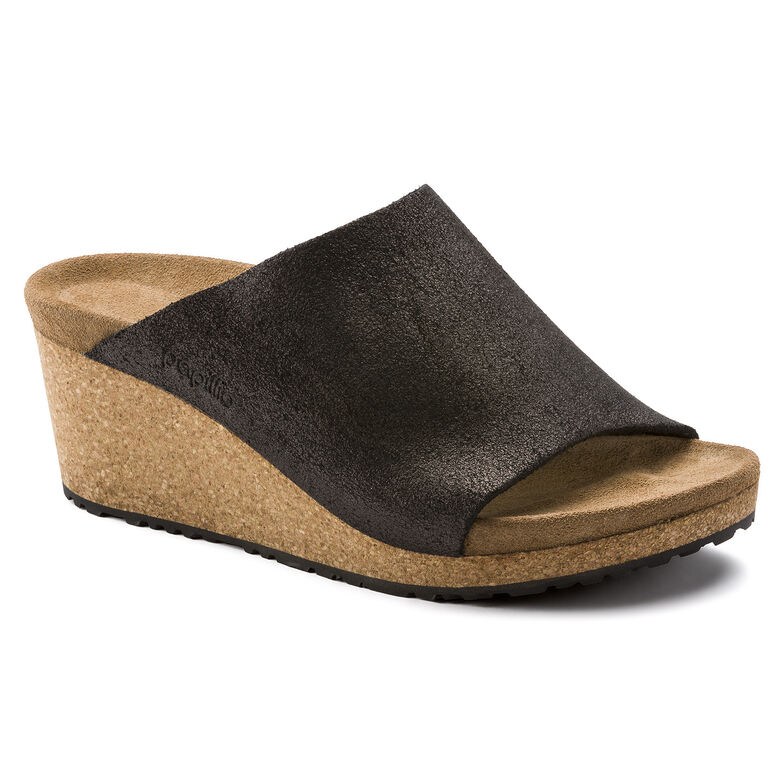 Namica Suede Leather Washed Metallic Antique Black
