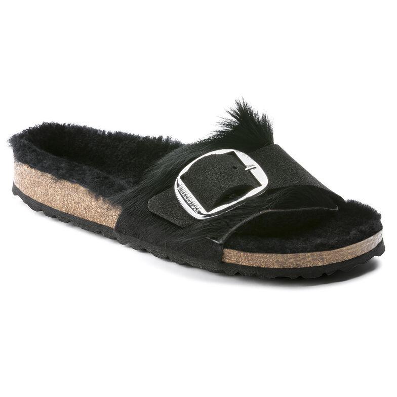 Madrid Suede Leather/Fur Longhair Black