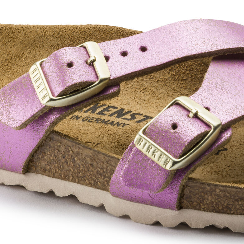Yao Suede Leather Washed Metallic Pink