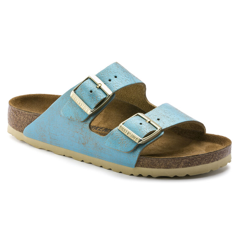 Arizona Suede Leather Washed Metallic Aqua