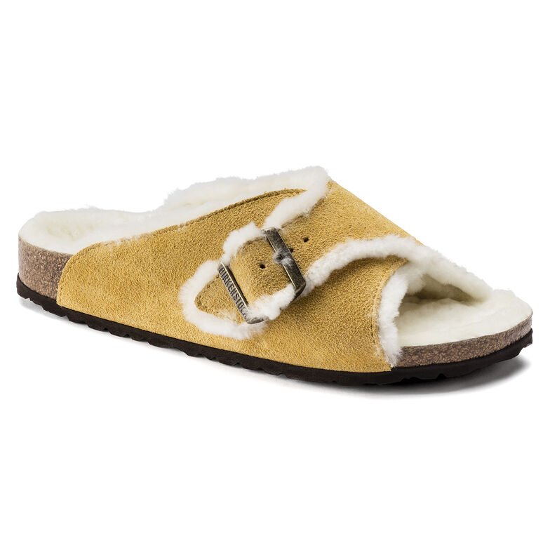Arosa Shearling Suede Leather Ochre