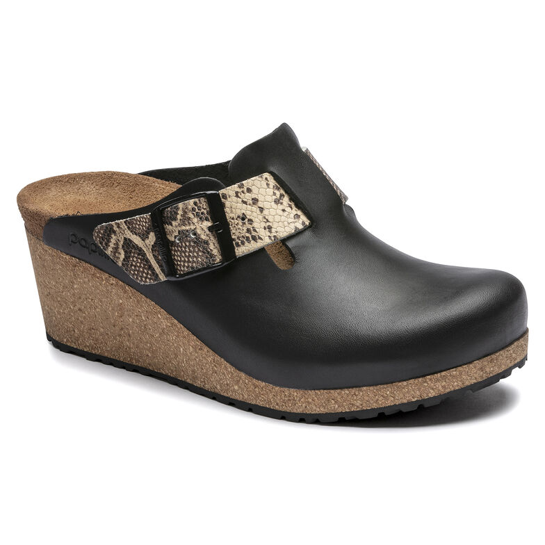 Fanny Embossed Leather Black/Snake Beige