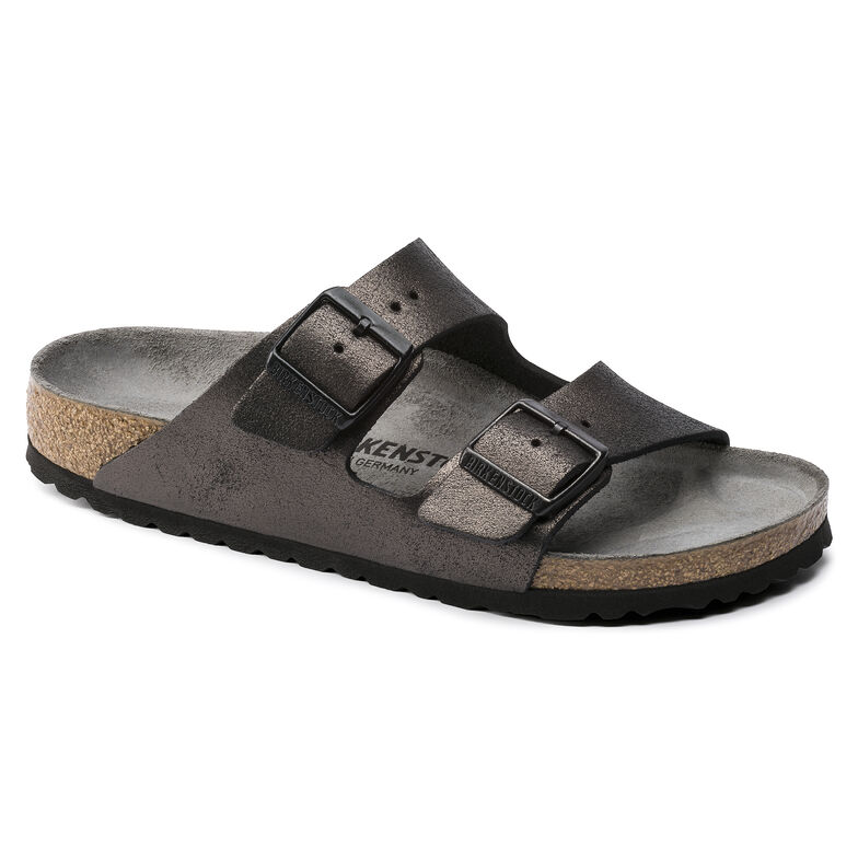 Arizona Suede Leather Washed Metallic Antique Black